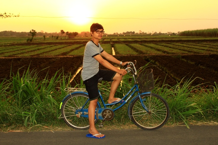 cycling at beauty sunset in Pare, Kediri, Indonesia