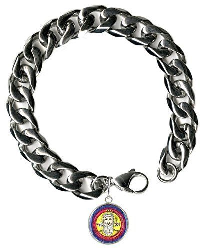 """Solomons 1st Sun El Shaddai All Wishes Granted Steel 9"""" Mens Bracelet 12mm Thick Curb Chain"""