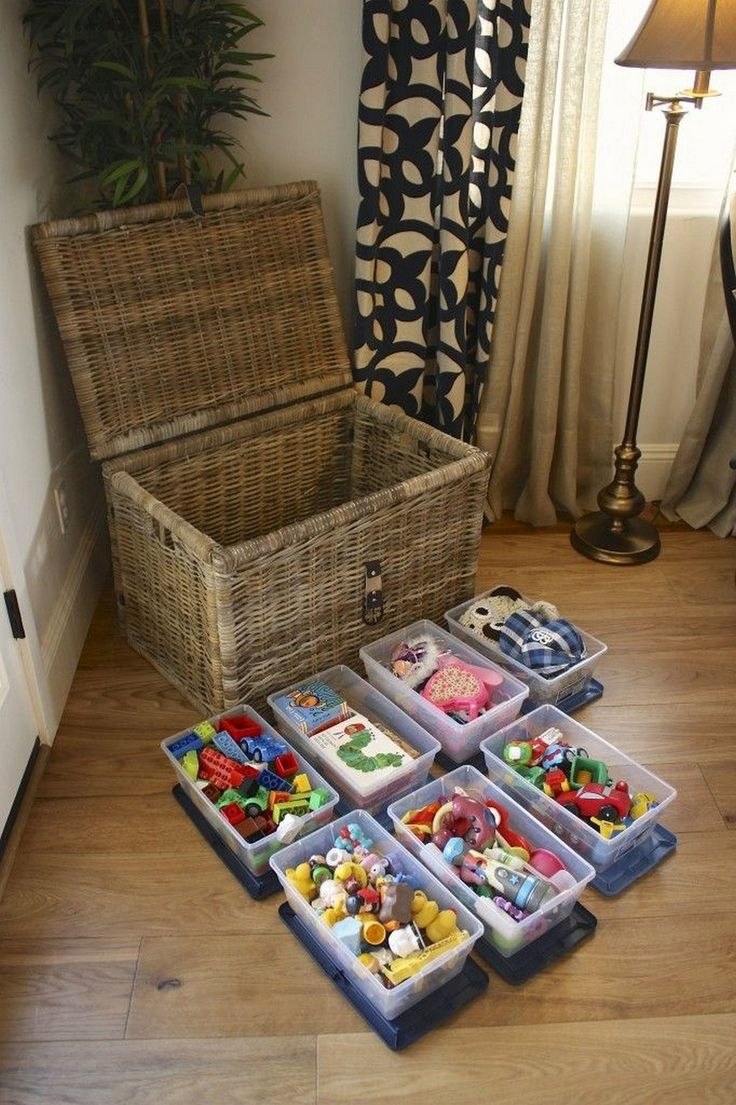 Chest and Bins Make Brilliant Toy Storage in the Living Room