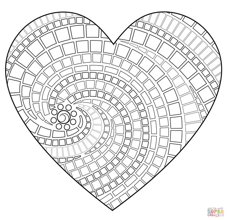 Free Mosaic Patterns to Print | Click the Heart Mosaic coloring pages to view printable version or ...