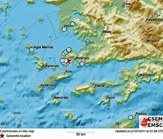 The impact area in the Aegean Sea. (Image: EMSC).