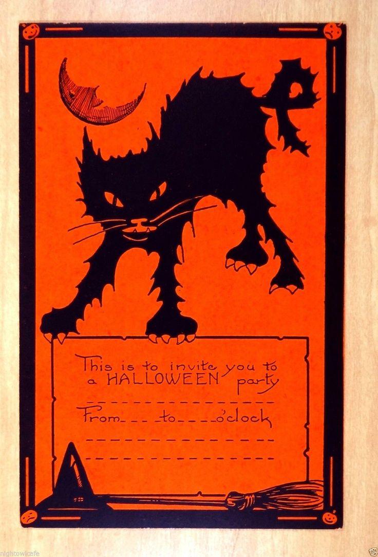 rare Whitney HALLOWEEN INVITATION Postcard Scary Black Cat Man Moon witch broom   eBay