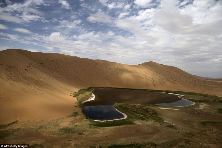 This oasis in the Gobi Desert looked peaceful until competitors in the Silk Way Rally arrived, stirring up dust as they navigated the dunes