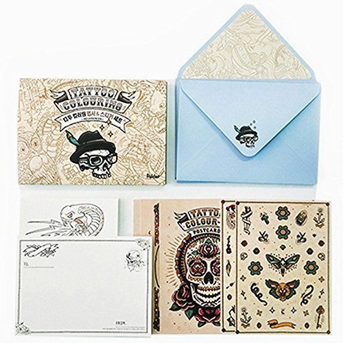Tattoo Coloring Postcards Kit Book DIY Set With 20
