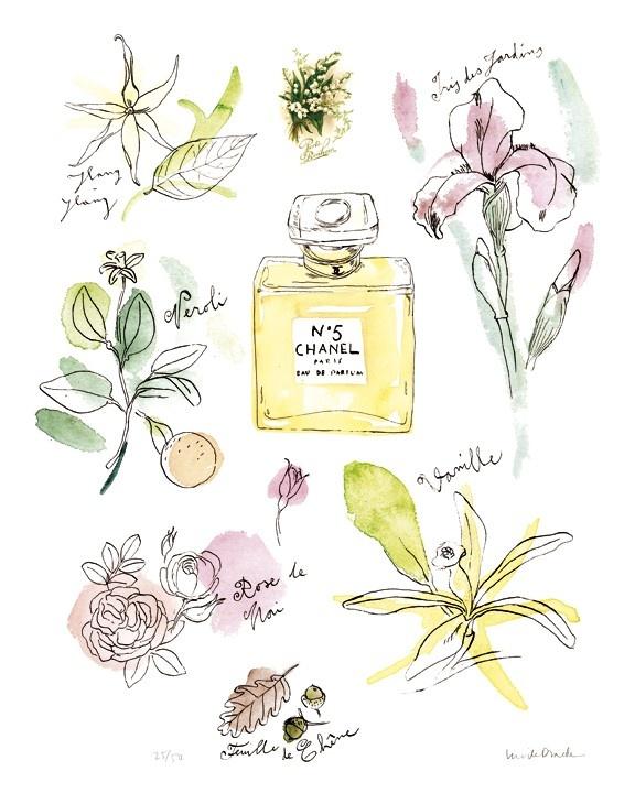 CHANEL print Paris 8X10 Coco Chanel 5 watercolor poster French artwork.