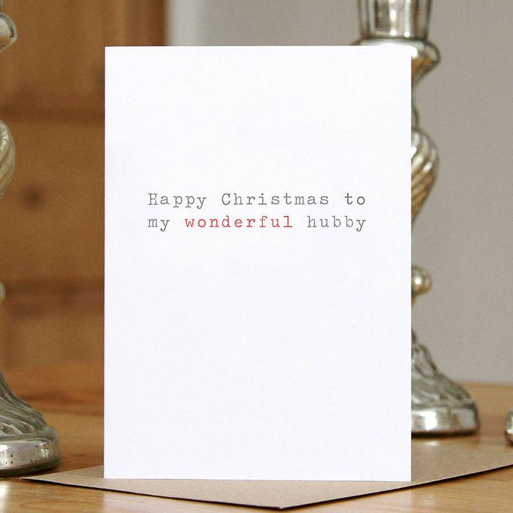 'wonderful hubby' christmas card by slice of pie designs | notonthehighstreet.com