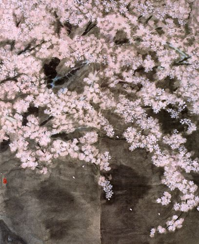 夜桜 二曲屏風
