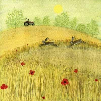 PL-ESK001 Pretty any-occasion greetings card illustrated in pastel tones by Lucy Grossmith with two hares capering amonst the poppies at harvest time