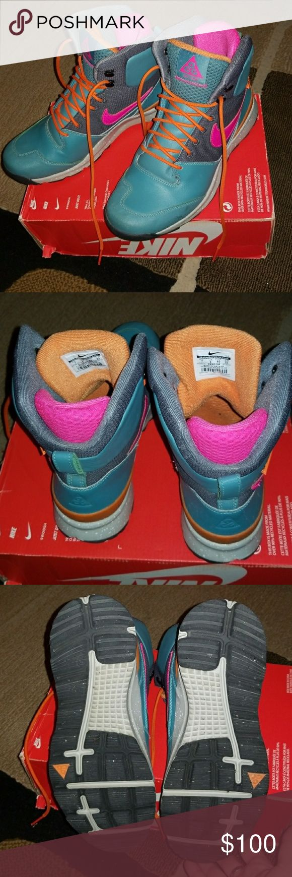 Nike ACG Watershield Winter Boots Size 7 Mens Nike ACG winter boots with water shield technology,  excellent condition. Only worn a couple of times. Hot pink and orange accents on tiffany turquoise with great speckled base. Would fit a women's 8 - 9, men's 7. Smoke and pet free home. Nike ACG Shoes Rain & Snow Boots