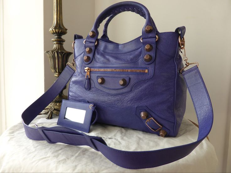 dd1e3022f4f3 Balenciaga City in Deep Violet Lambskin with Giant 12 Shiny Gold Hardware -  SOLD