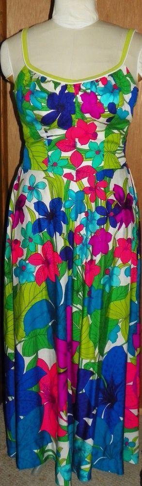 Vtg Hawaiian Long Maxi Full Sweep Floral Dress De Weese Design Bra Top Sz 16/38 #DeWeeseDesign #Maxi #CasualDressy