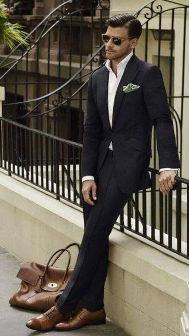 I like this black suit with brown shoes idea... | Carousel ...