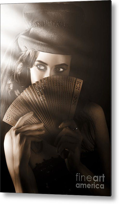 Art Metal Print featuring the photograph Vintage Cabaret Show Girl In Stage Spotlight by Jorgo Photography - Wall Art Gallery