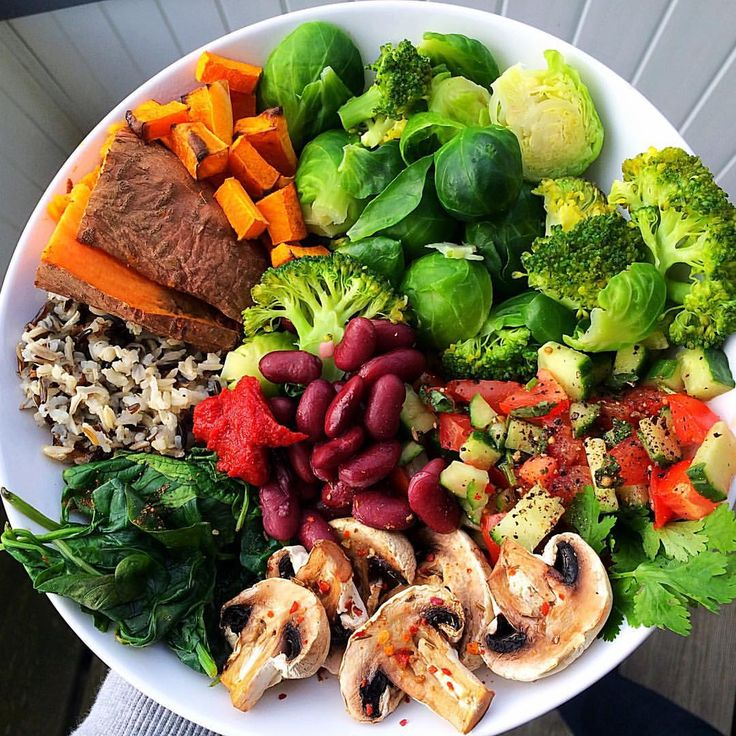 "jiliciousjourney: "" Big dinner plate after a long day at uni: sweet potato, butternut squash, Brussels sprouts, broccoli, tomato cucumber salsa, baked mushrooms, steamed spinach, kidney beans, tomato..."