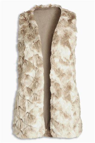Buy Neutral Plush Faux Fur Gilet from the Next UK online shop