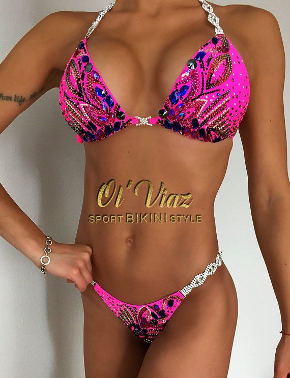 Pink Mate Supplex Bikini Suit with ORIGINAL Swarovski Crystals top and bottom. Top is embellished with Swarovski Crystals plus jeweled connectors. Bottom of Crystal Bikini decorated Swarovski Crystals and has the appropriate jewelry connectors. This Pink Mate Supplex Competition Bikini with ORIGINAL Swarovski Crystals costume ready to order. Size Cup: C,D. Size Bottom: S; M.  • If you would like this Crystal Bikini in different color, please do no hesitate to ask! • This beautiful Crystal…