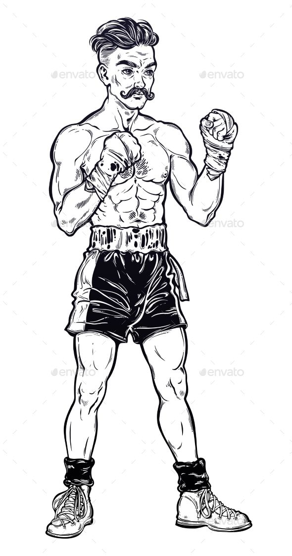 Vintage Retro Boxer Fighter Design To Draw Simple Fight Club