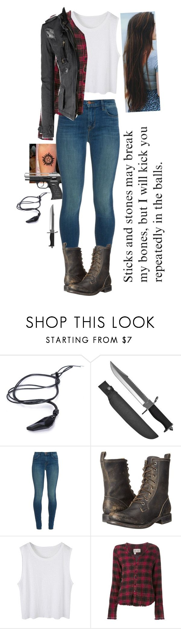 """""""//Saving people, Hunting things, The family business\\"""" by xx-broken-ones-xx ❤ liked on Polyvore featuring Whetstone Cutlery, J Brand, Frye, Greg Lauren and Doublju"""