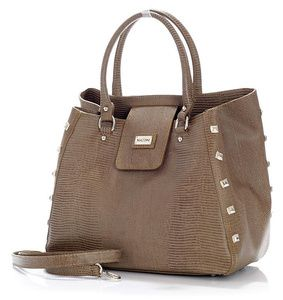 Designerska torebka kufer ciemny beż taupe skóra MAZZINI - Roberta Lux