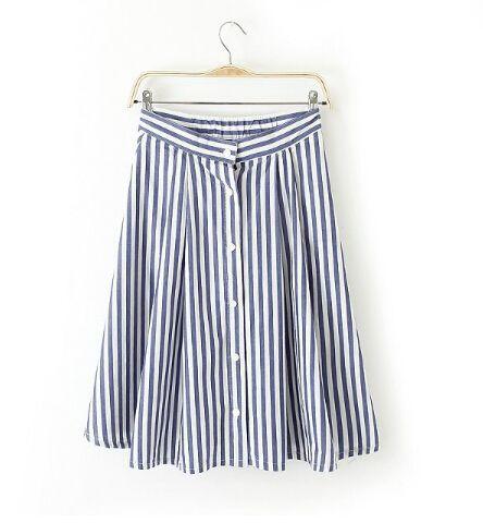 new fashion Women\'s elegant blue white Stripes single breasted A line Skirt preppy style casual slim Saia 1158