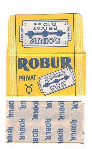ROBUR (v3) vintage SAFETY RAZOR BLADE lametta da barba lame de rasoir rakblad