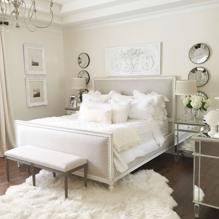 white and white furniture. neutral easy master bedroom with restoration hardware bed white wall mirrored furniture fur and g