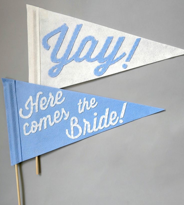 Here Comes the Bride Wedding Pennants by Betawife on Scoutmob Shoppe. A little ring bearer or flower girl would dig these flags.