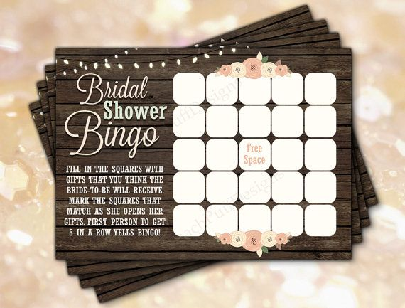 Rustic Bridal Shower games - Bridal shower Bingo  by PeachPuffDesigns