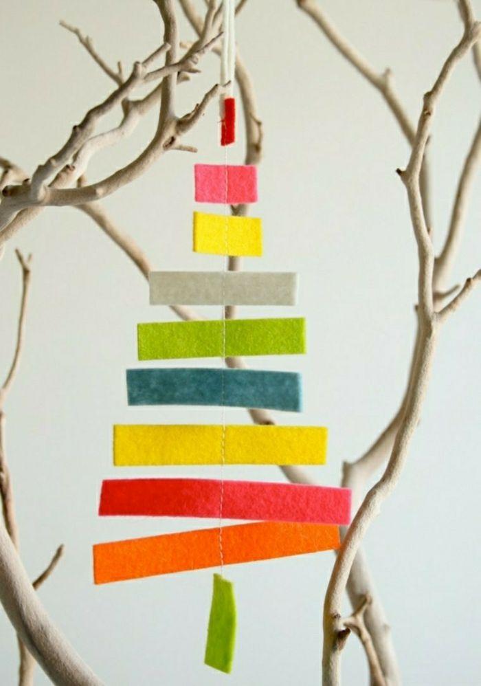 weihnachtsdeko ideen diy christbaumschmuck selber machen filz bunte streifen