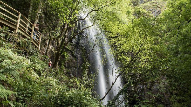 Augacaída, la ruta más popular de la Ribeira Sacra cascada de Augacaída y del castro de Marce, en el municipio de Pantón