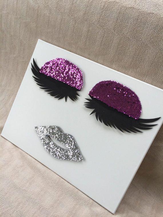Lip Lips Eyelashes Canvas Wall Decor Eyelash Extension