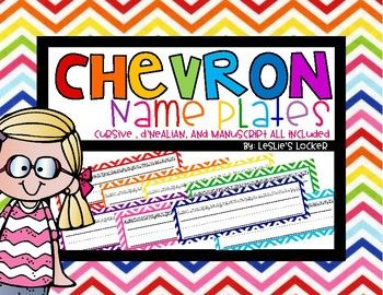Chevron Name Plates by Leslie's Locker | Teachers Pay Teachers