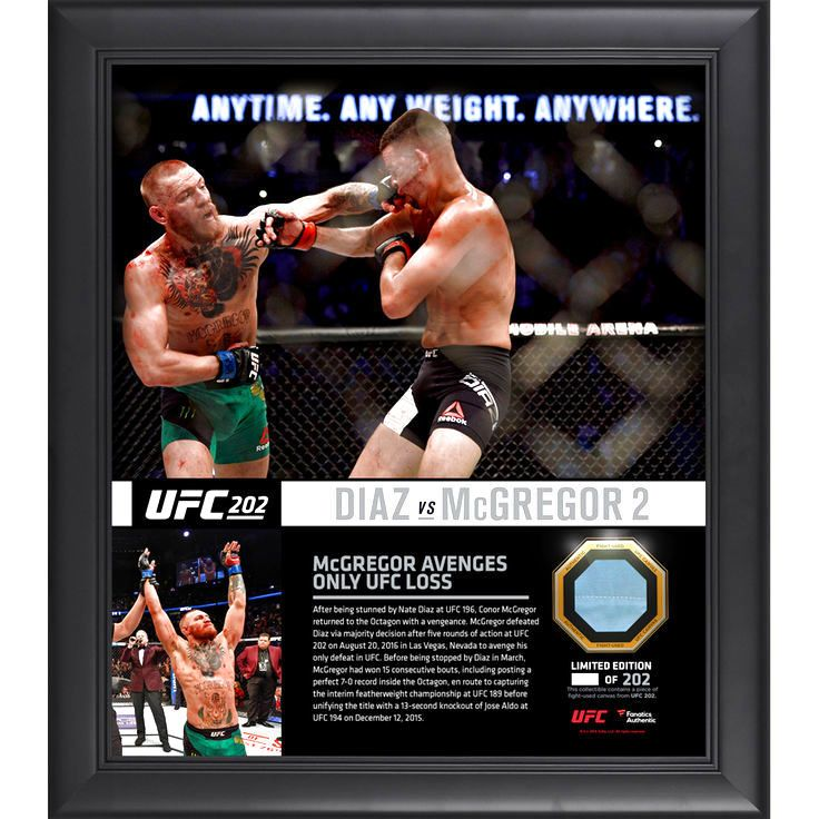 "Conor McGregor Ultimate Fighting Championship Fanatics Authentic Framed 15"" x 17"" UFC 202 Win Over Nate Diaz Collage with a Piece of Canvas From UFC 202 - $89.99"