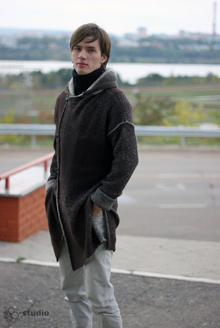 Knitted overcoat for Men. Knitting pattern  It is Knitting pattern for knitting on knitting machines like Brother, Silver Reed, Toyota and others,