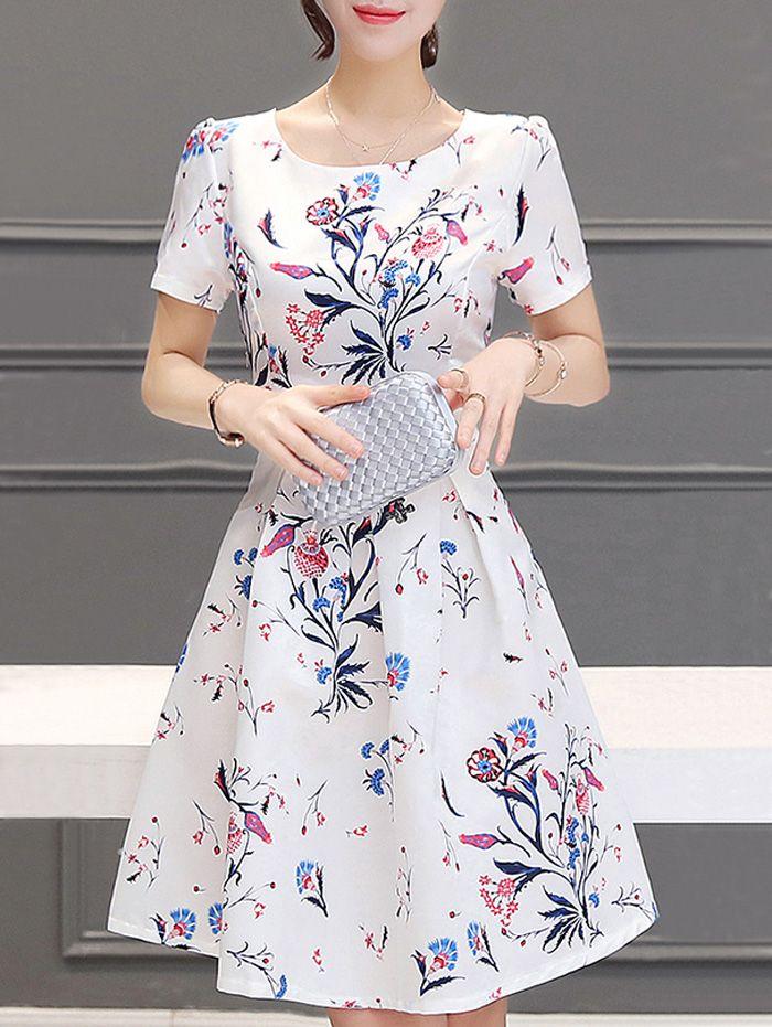 Stunning Women's Jewel Neck Short Sleeves Pleated Flare Dress