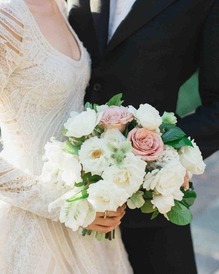 A Backyard, Garden Wedding in San Marino | Martha Stewart Weddings - Moon Canyon created Emily's bouquet of garden roses, white clematis, begonia, and seasonal foliage.