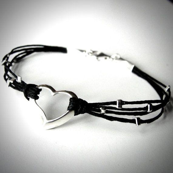 Sterling Floating Heart No2 bracelet on linen from JewelryByMaeBee on Etsy.