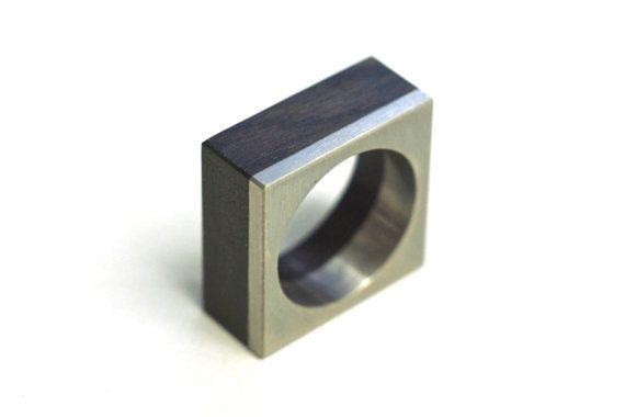 Titanium Bauhaus Minimalist Ring with Blackwood ||WILDHORN|| jewelry by MayakDesign