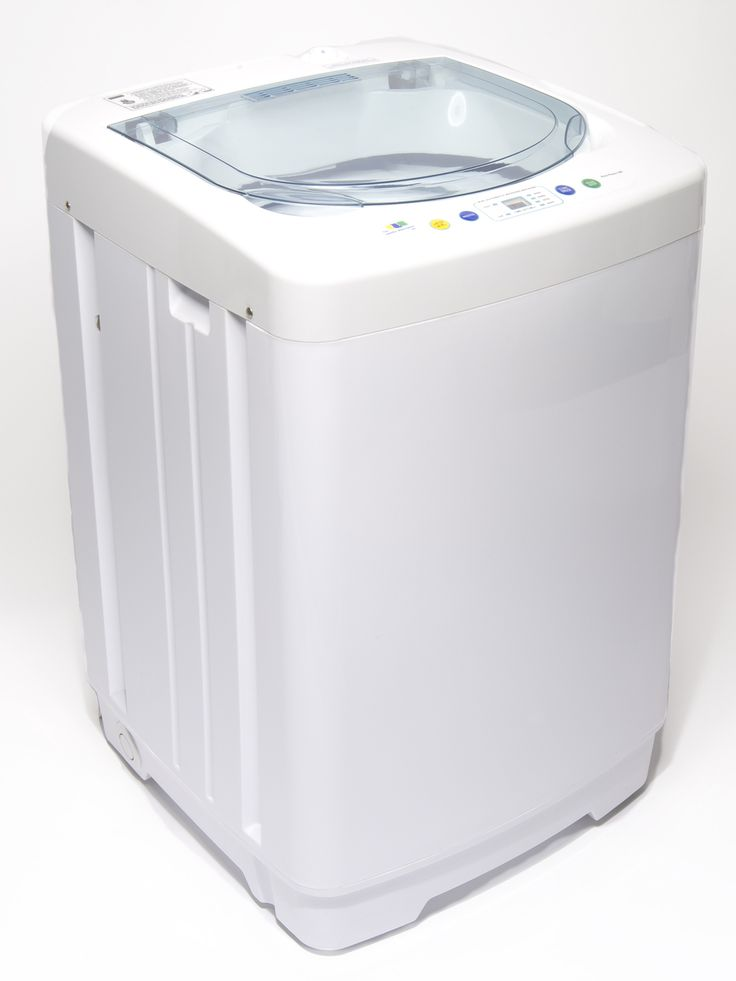 "Super Compact Full Automatic Washing Machine | The smallest and lightest full automatic portable washing machine available. Hooks up to kitchen faucet, no washer-dryer hookup required. 5.5 lb. wash capacity. Weighs 35 lbs. Dimensions 16"" x 16.5"" x 25."" Holds up to 5.2 gallons of water."