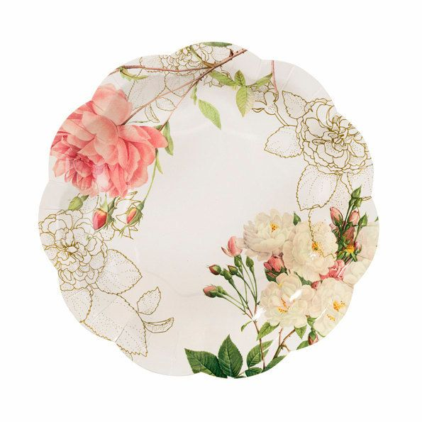 Pink Rose Paper Plates Set of 12 / Floral Paper by PaperBearMan