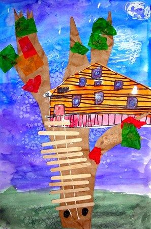 Belvedere Elementary School, It's this fabulous!House Crafts, Art Museum, Mixed Media, House Architecture, Trees House, House Art, Art Projects, Kids Design, 3Rd Grade
