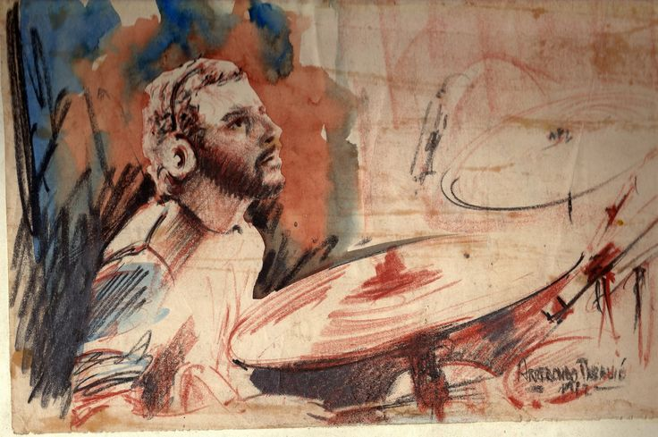 STEVE GADD 1982, Sketches at Arcis University, Mixed Media (watercolor, soft pastels & graphite) on paper....