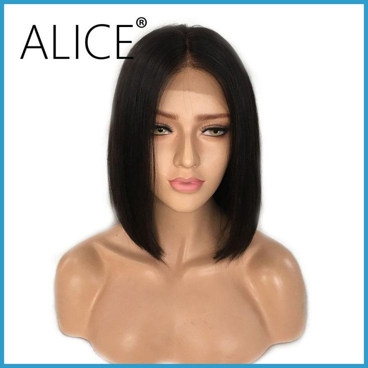 ALICE Short Bob Lace Front Wigs With Baby Hair 8-16 Inch Straight Brazilian Remy Hair Wigs For Black Women With Bleached Knots
