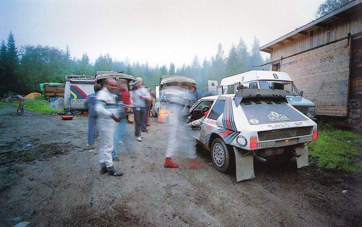"1000 Lakes Rally Finland, Markku Alen with his Lancia Delta S4 in the remote ""service""."