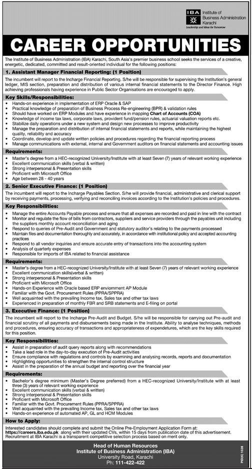IBA Karachi Jobs 2017 www.iba.edu.pk Career Opportunities Apply Online Latest Advertisement. Assistant Manager Financial Reporting, Senior