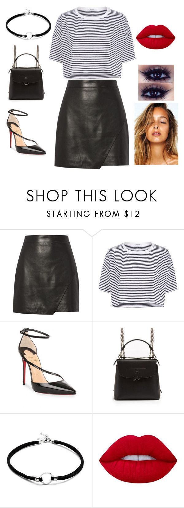 """""""Black and White"""" by zeynepkilic889 on Polyvore featuring moda, Michelle Mason, T By Alexander Wang, Christian Louboutin, Fendi ve Lime Crime"""