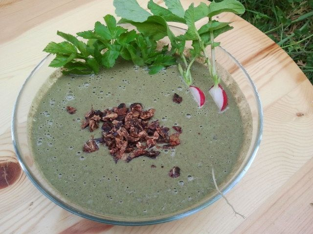 Chia-Kastanien-Radischen-Grün Suppe mit Johannisbrot-croutons.  Raw soup mainly from radish-greens in chestnut-chia cream topped with soacked carob beans
