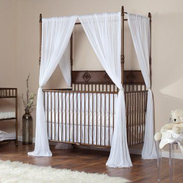 This is really just a placeholder - if we were to do a Harry Potter nursery, we could hang heavy drapes around the crib and tie them back to echo the beds in the tower.