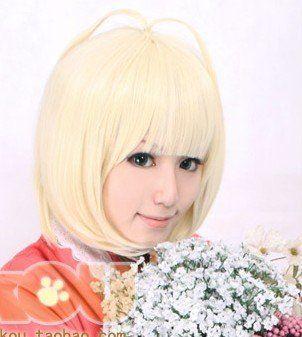 ~ Ао не Exorcist. Shiemi Дайдо. Blonde короткая прямая челка синтетический костюм парик, 953, Бесплатная доставка