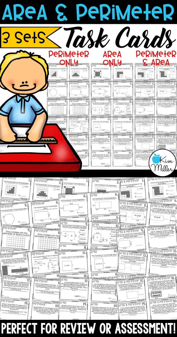 Area and perimeter task cards: 3 different sets with 60 task cards all together.  •20 task cards - Perimeter Only •20 task cards - Area Only •20 task cards - Area and Perimeter (mix)
